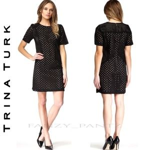 TRINA TURK MARQUISE EYELET SHIFT DRESS MINI SMALL